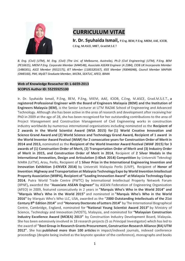 Download My CV | Assoc. Prof. Ts. Ir. Dr. Syuhaida Ismail