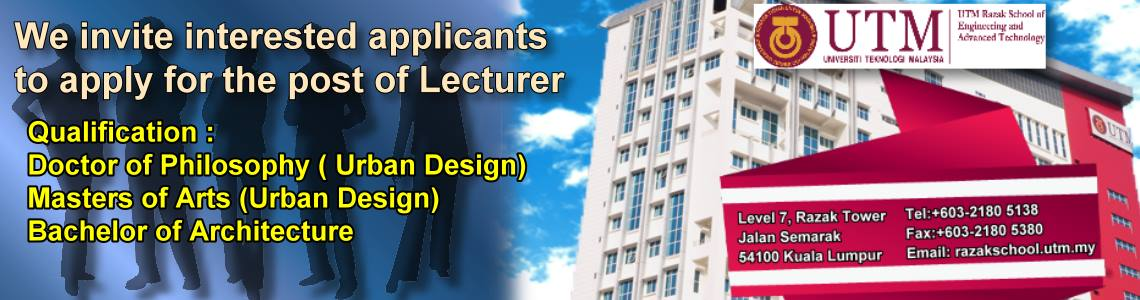 Vacancy for the position of Professor/ Associate Professor/ Senior Lecturer in Urban Design