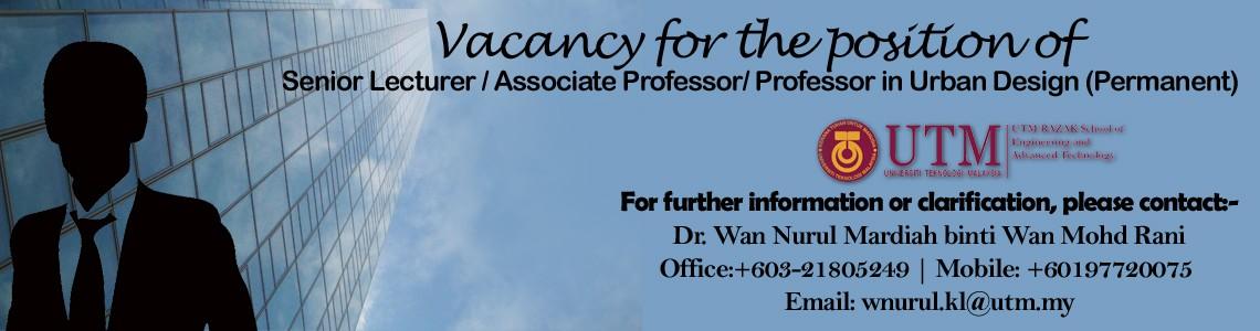 Vacancy for the position of Senior Lecturer / Associate Professor/ Professor in Urban Design (Permanent)